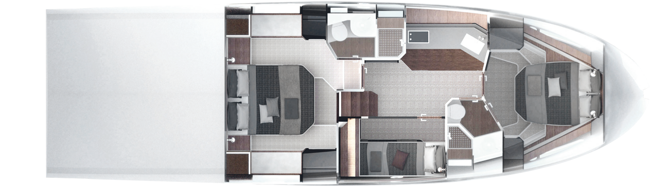Lower deck - 3 cabins